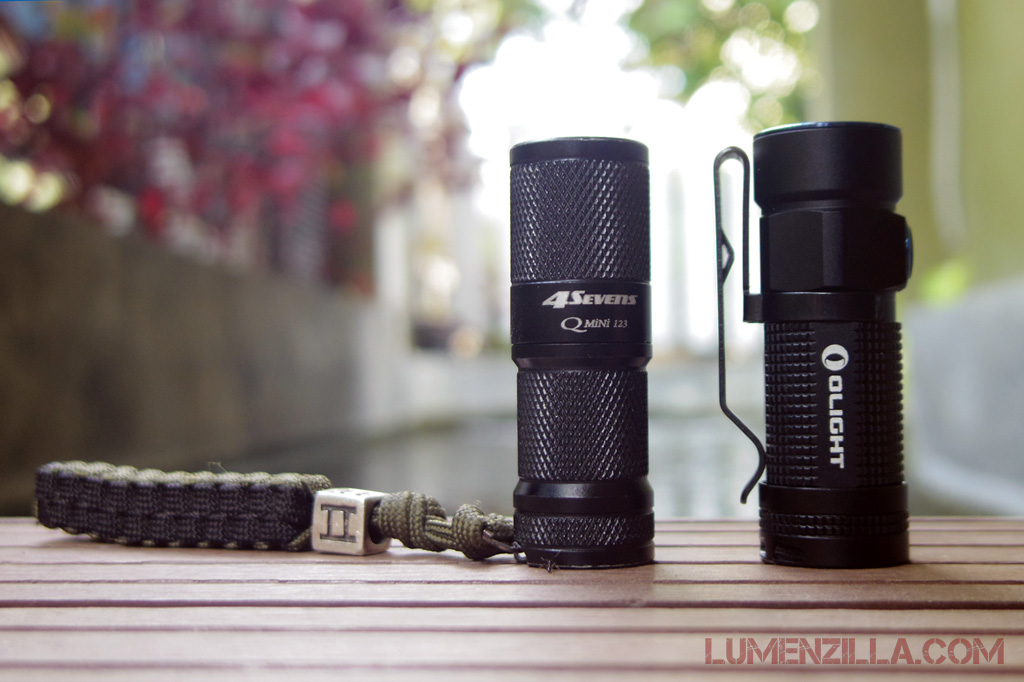09-olight-s1-baton-compared-to-foursevens-quark-mini-123-both-using-cr123-battery