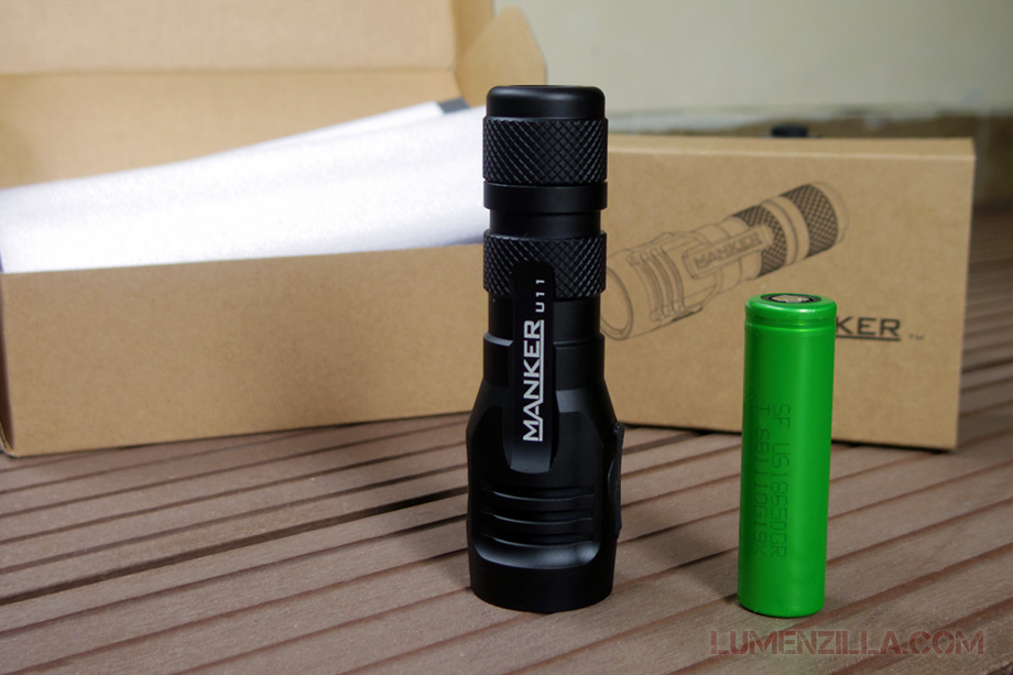 manker quinlan u11 flashlight powered by single sony 18650 battery