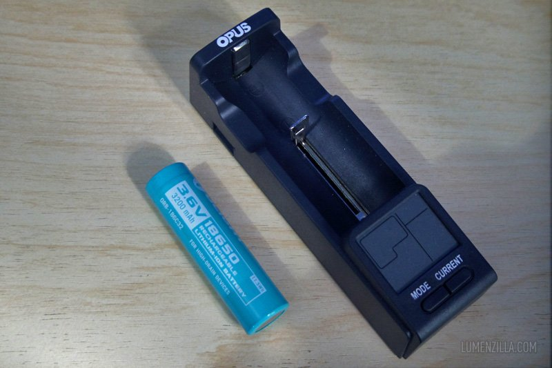 opus bt-c100 digital output battery charger and 18650 battery