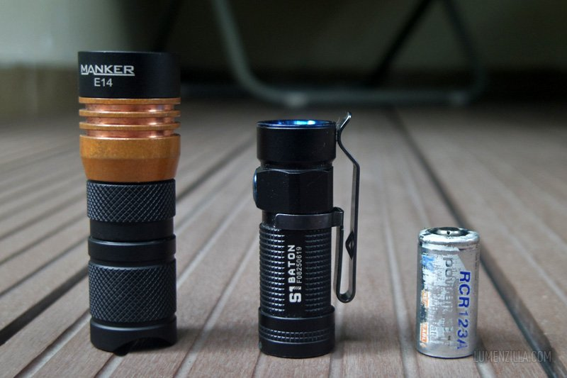 14 manker e14  compared to olight s1 baton and 16340 battery