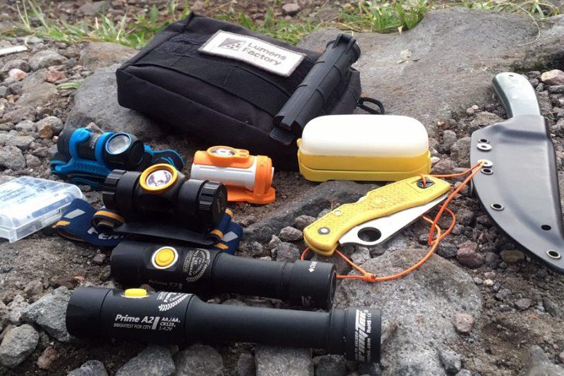 flashlights on hiking trip
